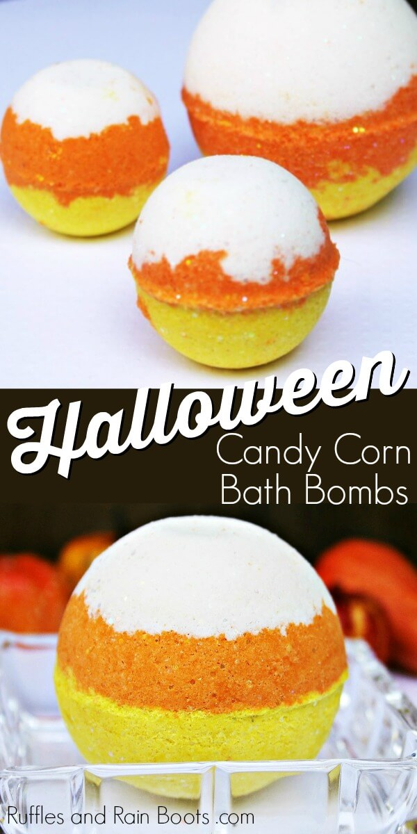 photo collage of colorful candy corn bath bomb with text which reads Halloween candy corn bath bombs