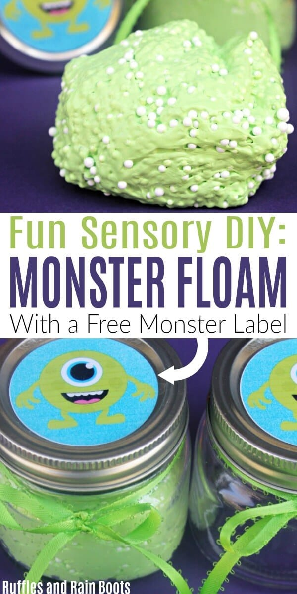 This monster floam recipe is perfect for a Halloween craft for kids. You can even print a free label for the jar! #slime #floam #monstercrafts #craftsforkids #sensory #sensoryplay #monstercraftsforkids #halloweencraftsforkids #diyhalloween #rufflesandrainboots