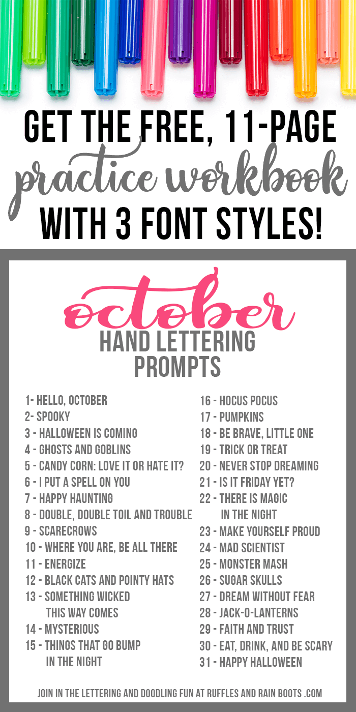 prompts and markers on white with text which reads October hand lettering practice workbook with prompts