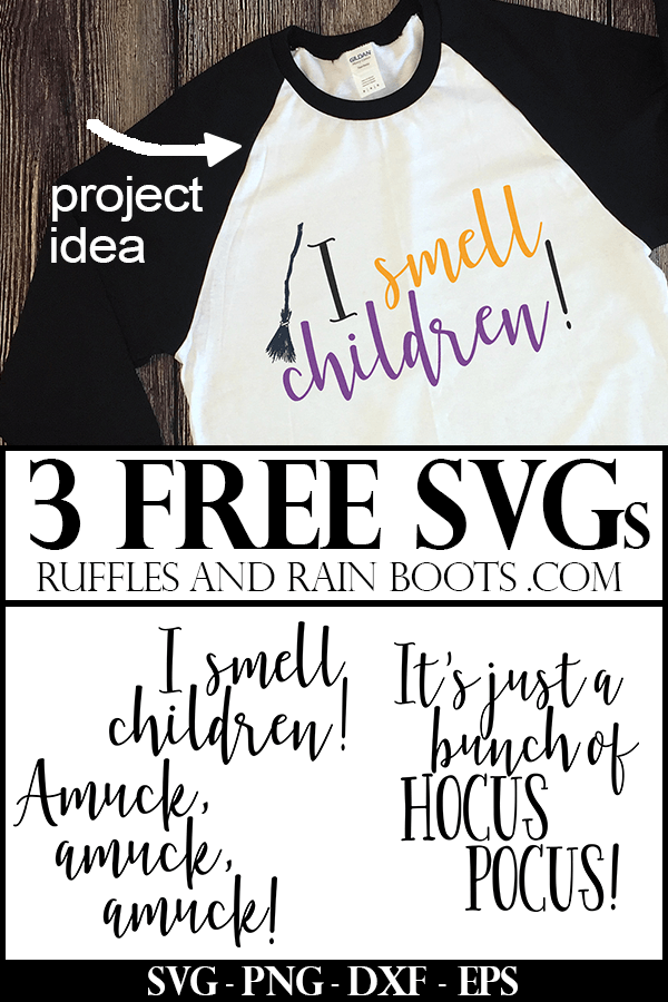 3 free SVGs for Hocus Pocus with t-shirt project idea