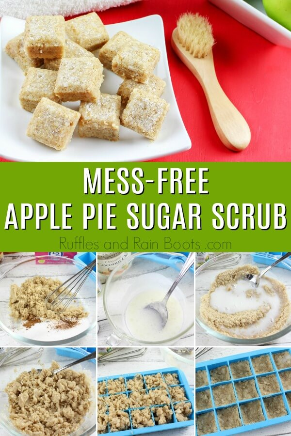 Make this amazing apple pie sugar scrub in a fun cube form for easy use and storage. Click through to get the recipe and a few tips for making them come out perfectly every time. #sugarscrub #sugarscrubrecipe #diybeauty #rufflesandrainboots