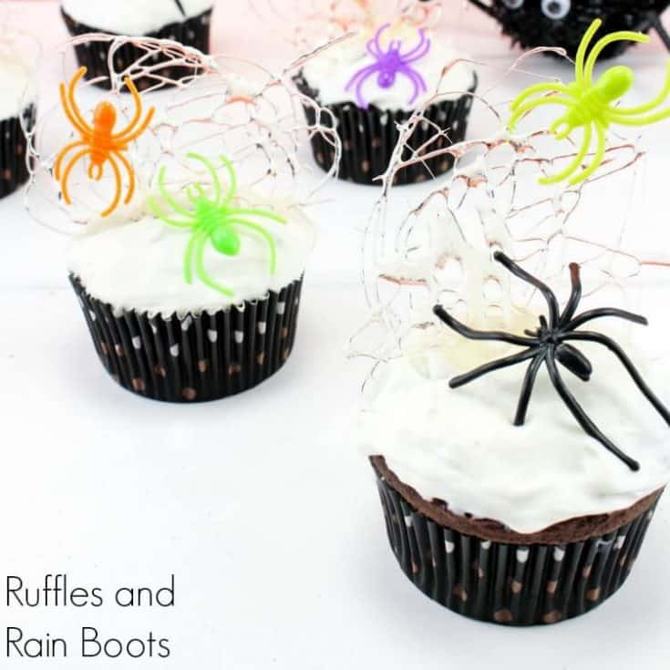Spun Sugar Spider Web Cupcakes - A Fun Halloween Treat!