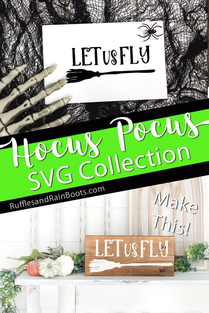 photo collage of let us fly svg with text which reads hocus pocus svg collection