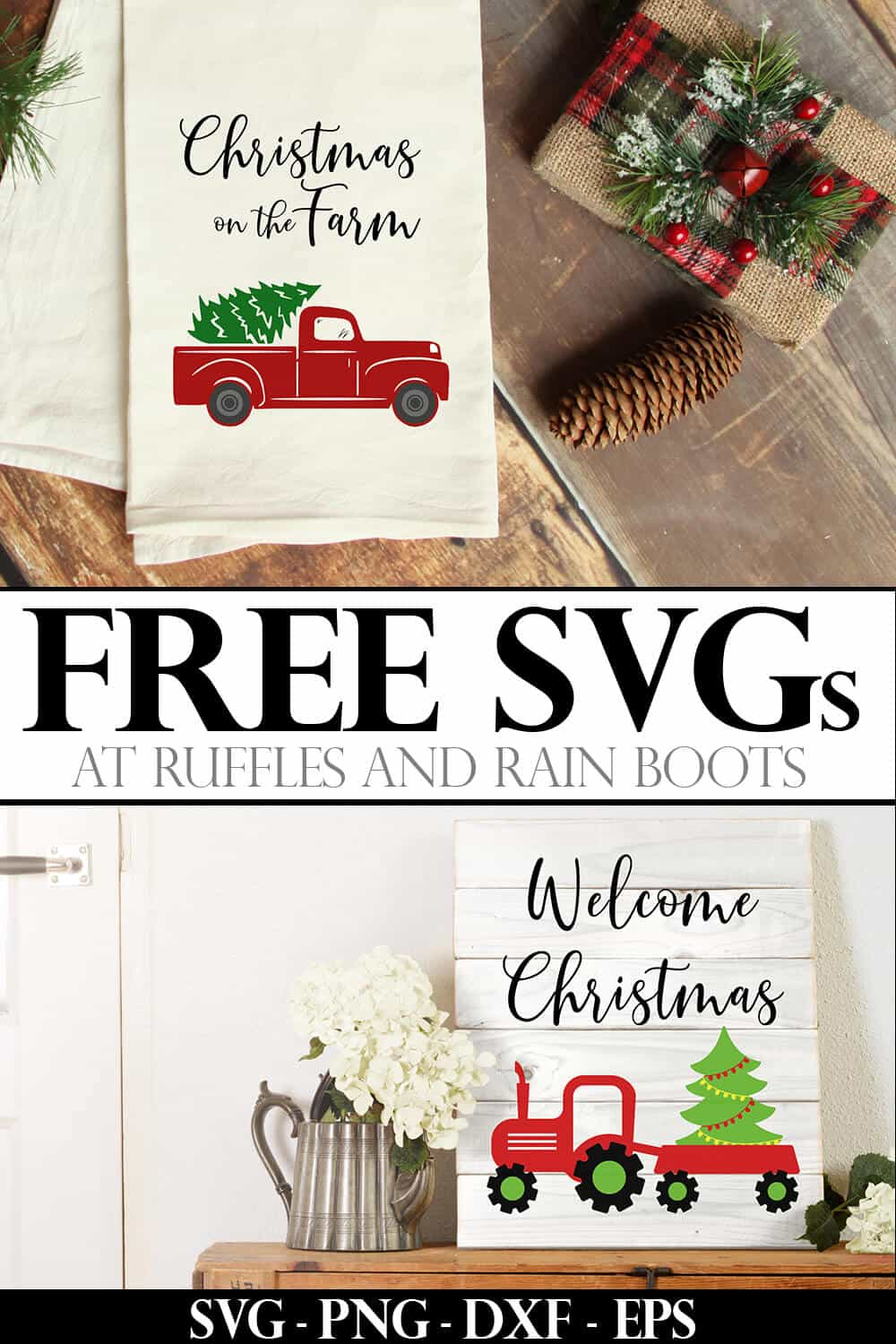 photo collage of christmas farm truck svgs on a towel and a sign with text which reads free svgs