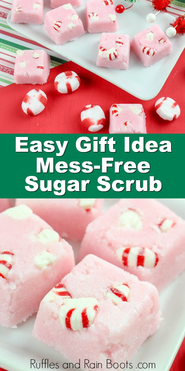 two photo collage of peppermint body scrub with text which reads easy gift idea mess-free sugar scrub