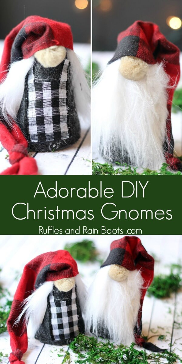 These rustic DIY Christmas gnomes are a perfect project to add holiday cheer to your home, gift, or tree. Click through to get started. #christmasgnome #scandinaviangnomes #diyholidaygnomes #gnomes #tomte #nisse #rufflesandrainboots