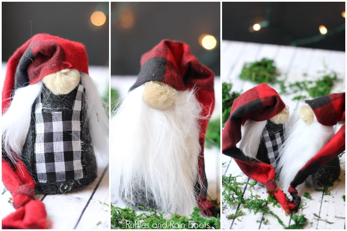photo collage of DIY Christmas gnomes on wooden background