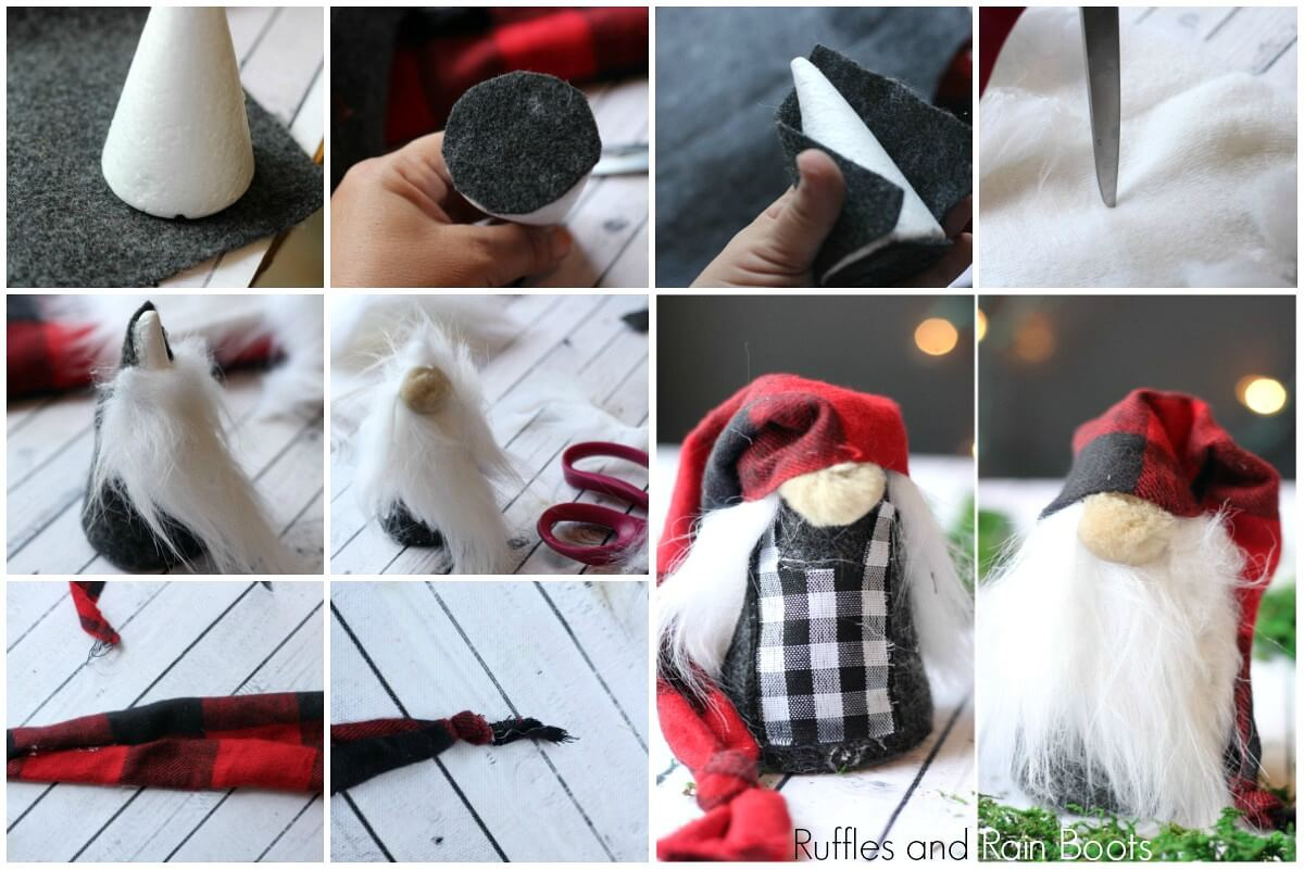 photo collage of how to make Christmas gnomes