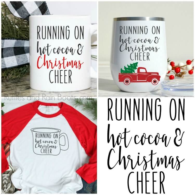 photo collage of mugs and a t shirt with a free Christmas SVG