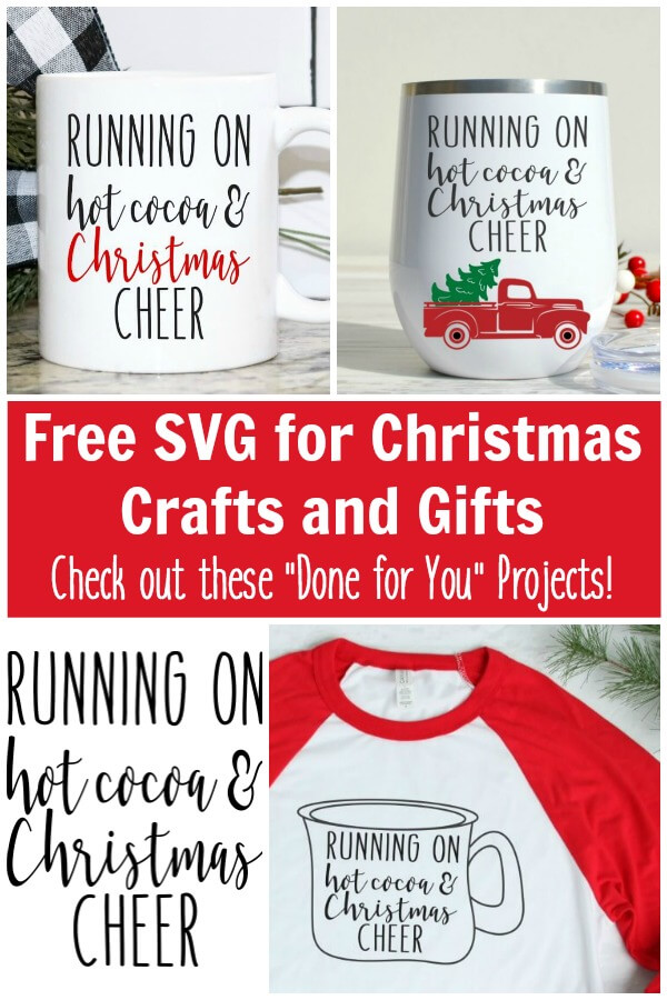 photo collage of Christmas gifts with text which reads Free SVG for Christmas Crafts and Gifts