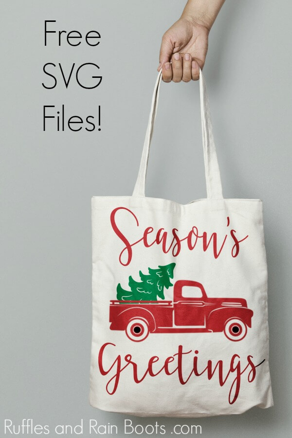 tote bag with Season's Greetings and vintage red Christmas truck with text which reads free SVG files