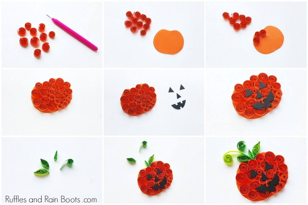 photo collage of quilled pumpkin craft for kids on white background