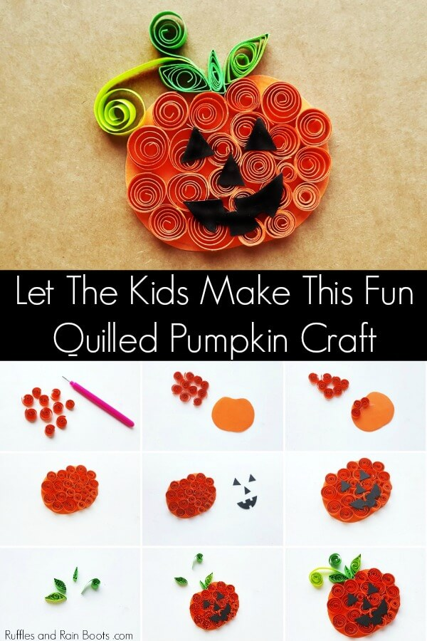 This fun quilled pumpkin craft for kids will work on fine motor skills while creating an adorable Halloween Jack-O-Lantern. Let's get started! #kidscrafts #kidcrafts #Halloweencrafts #Pumpkincrafts #papercrafts