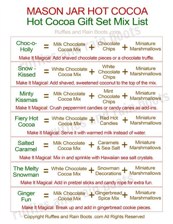7 Recipes and Fun Printable for Dry Hot Cocoa Recipe Ideas