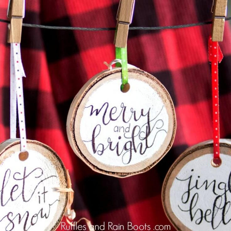 3 DIY hand lettered Christmas ornaments on Buffalo Check Plaid background