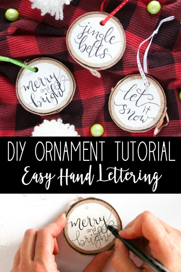 hand lettering Christmas ornament tutorial title with photo collage of 3 hand lettered Christmas ornaments