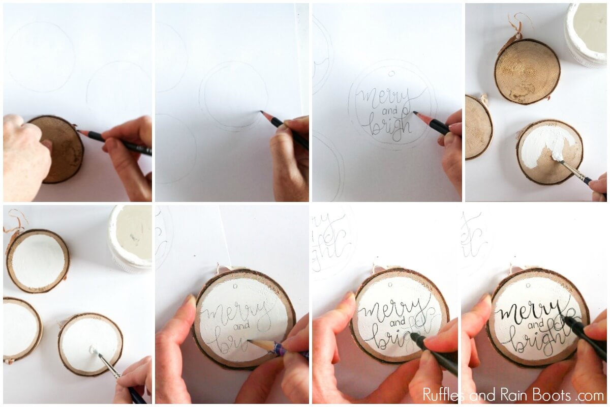 Photo collage of Tutorial - DIY Hand Lettered Ornament for Christmas