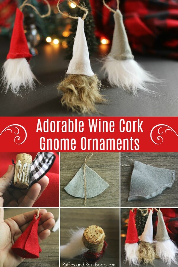 These DIY Swedish Gnome ornaments are a quick 30-minute craft and is a great scrap-buster. Grab a glue gun and click to see how easy they are. #Christmasgnomes #Swedishgnomes #DIYgnomes #tomte