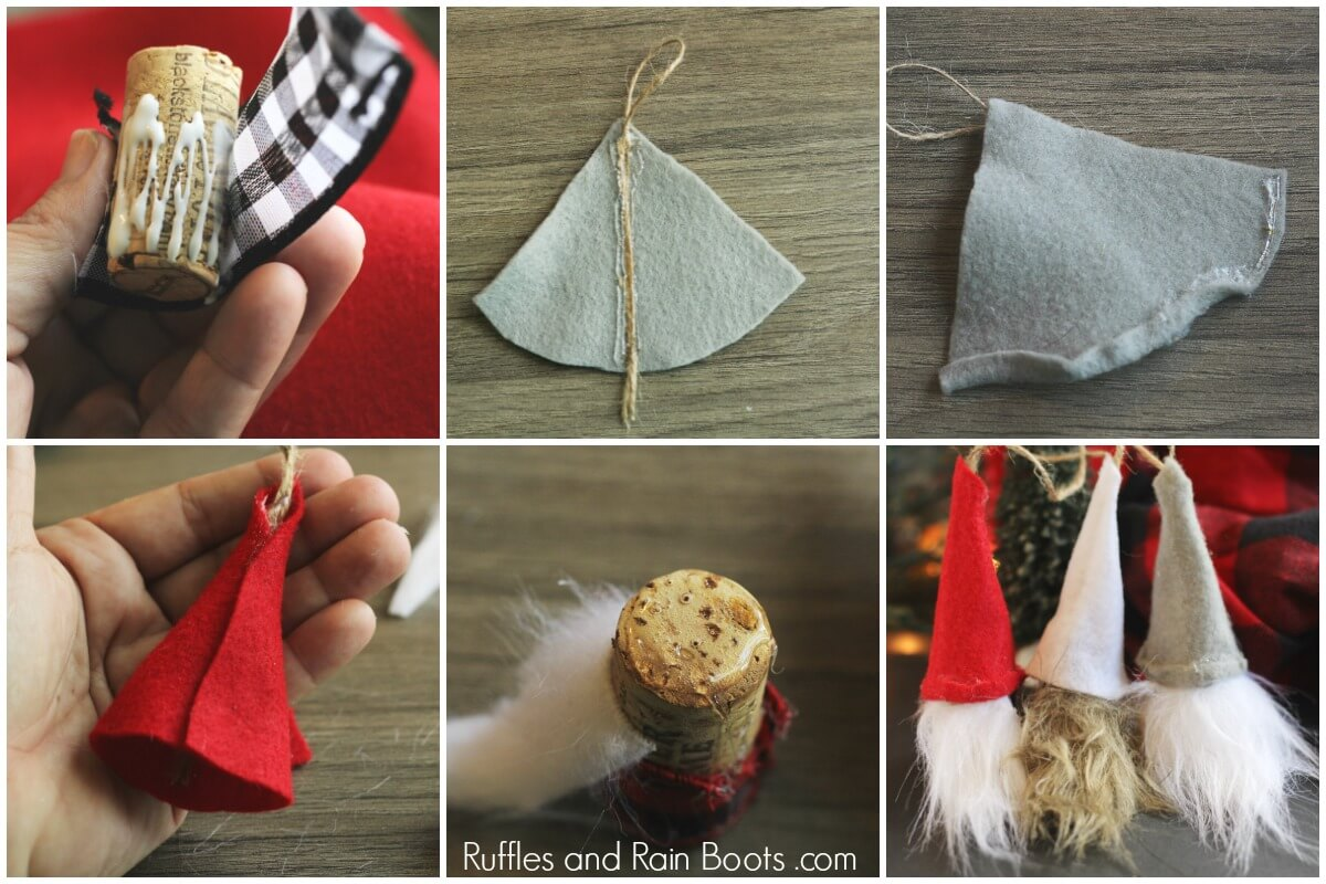 photo collage of tutorial for DIY Swedish gnomes - wine cork ornaments