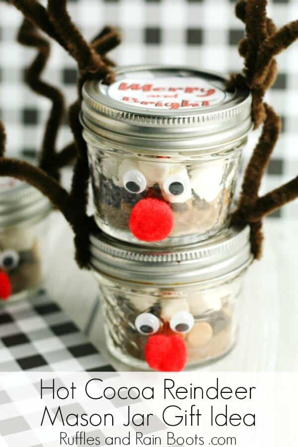 These adorable reindeer mason jars house a delicious peanut butter hot chocolate mix. Click through to see how easy and fun they are to make. #hotchocolate #masonjargifts #DIYChristmas #Christmasgiftideas #rufflesandrainboots