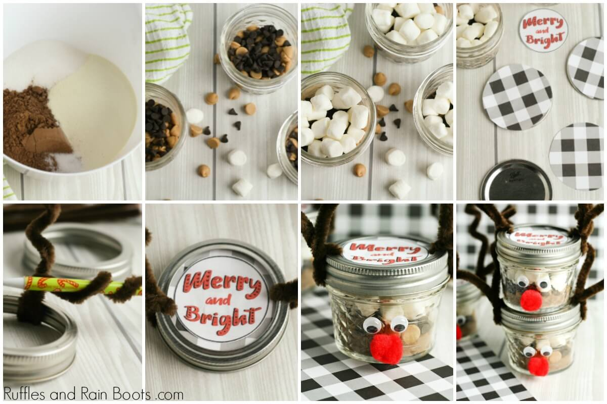 photo collage of how to make a reindeer mason jar with peanut butter hot chocolate dry mix