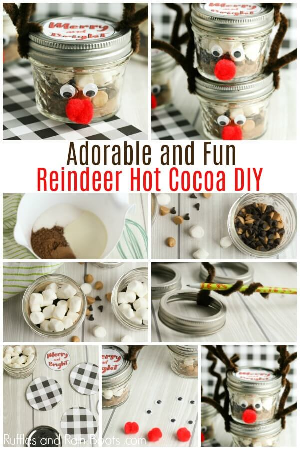 reindeer mason jar with peanut butter hot chocolate mix with text which reads Adorable and Fun Reindeer Hot Cocoa DIY