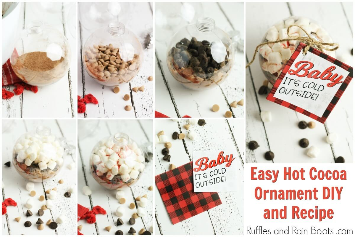 photo collage of how to make a salted caramel hot cocoa ornament and gift tag