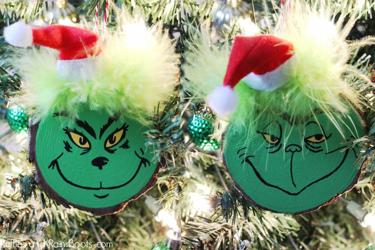 DIY Grinch Ornament Set for a Christmas Tree or Gifts - Ruffles and ...
