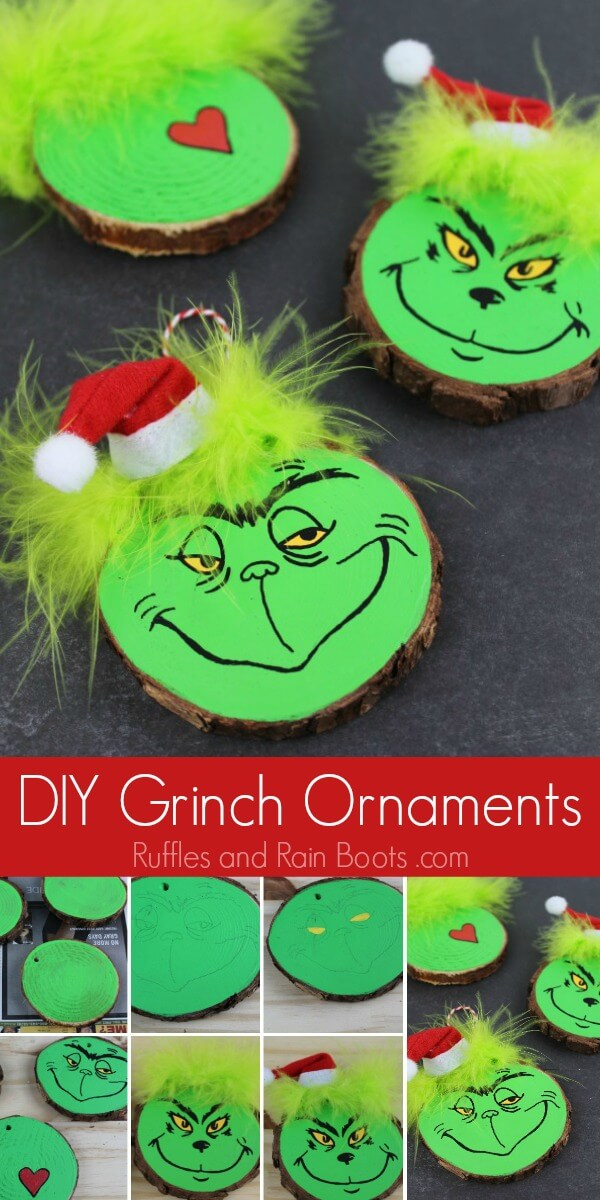This fun DIY Grinch ornament set is perfect for any Christmas tree. Click through to see our easy tutorial (and another kid-friendly Grinch ornament)! #Grinch #TheGrinch #Christmasornaments #DIYChristmas