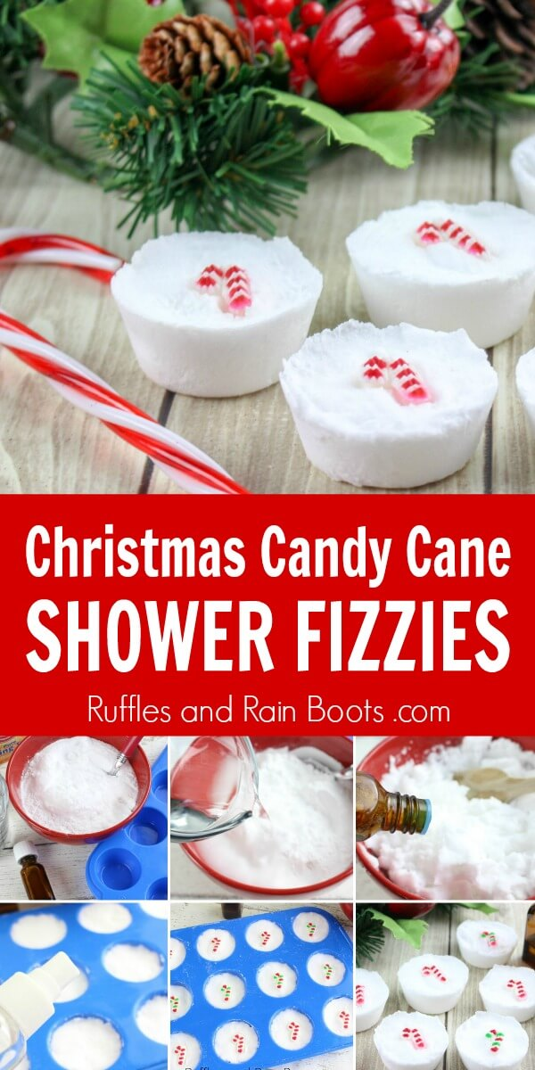 Christmas Shower Fizzies with Candy Cane decorations on wood background photo collage with text which reads Christmas candy cane shower fizzies