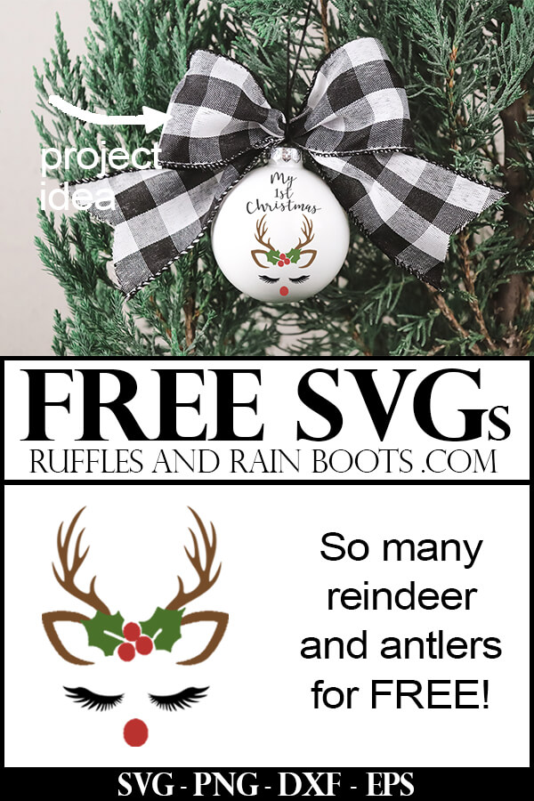 Christmas ornament made with a free reindeer SVG with text which reads free SVGs