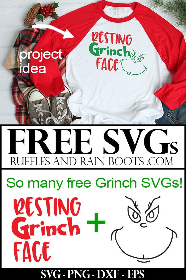 Free SVG Resting Grinch Face Grinch Cut File on t-shirt with vinyl