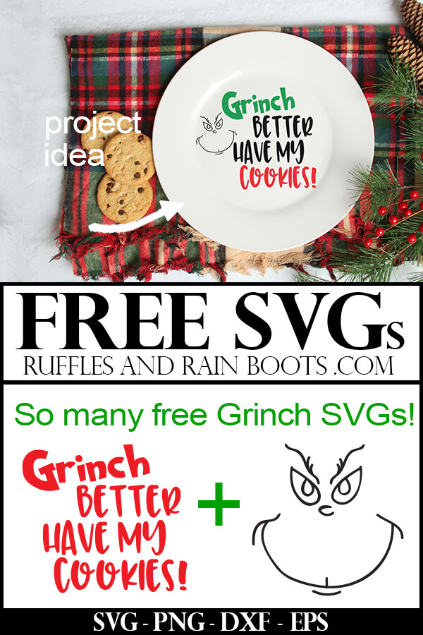 Christmas Cookie Plate with Grinch Better Have My Cookies Free SVG file on holiday background