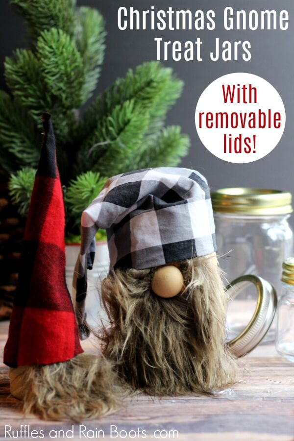 Adorable Swedish gnome mason jars on holiday background with text which reads Christmas Gnome Treat Jars