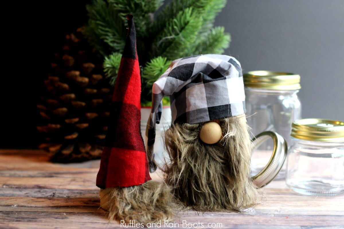 Christmas Gnome Mason Jars for Snacks or Gifts