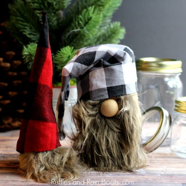 Christmas Gnome Mason Jars
