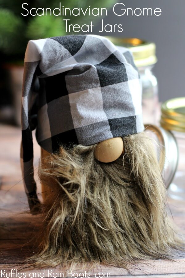 mason jar gnome with buffalo check slouchy hat pattern and a faux fur beard