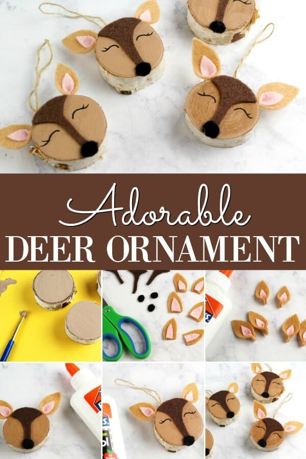 Woodland Deer Ornaments on marble background with text which reads Adorable Deer Ornament