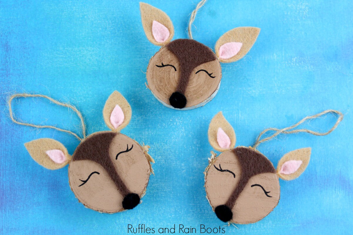 What to Make with Wood Slices - Deer Ornaments