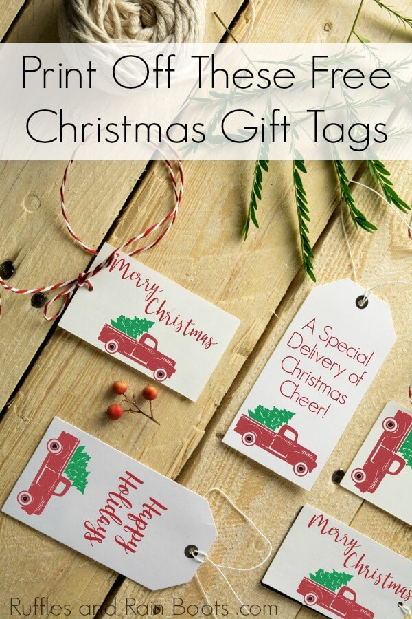photograph regarding Free Christmas Tag Printable identified as Printable Present Tags with Classic Xmas Vans