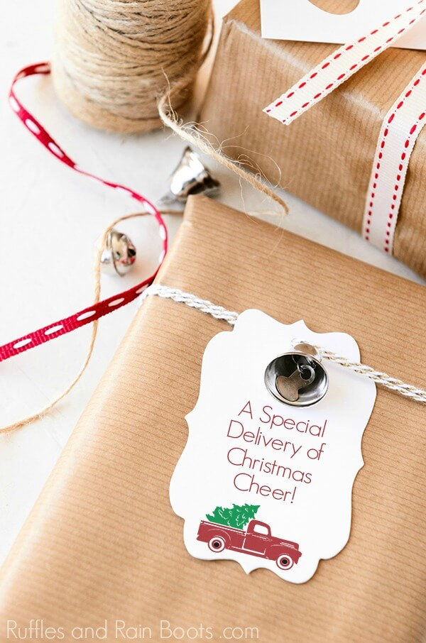 Special Delivery Vintage Red Christmas truck gift tag
