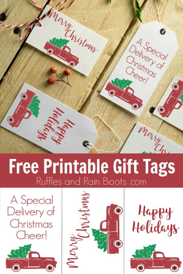 Gift tags with vintage Christmas trucks on wood background with text which reads Free Printable Gift Tags