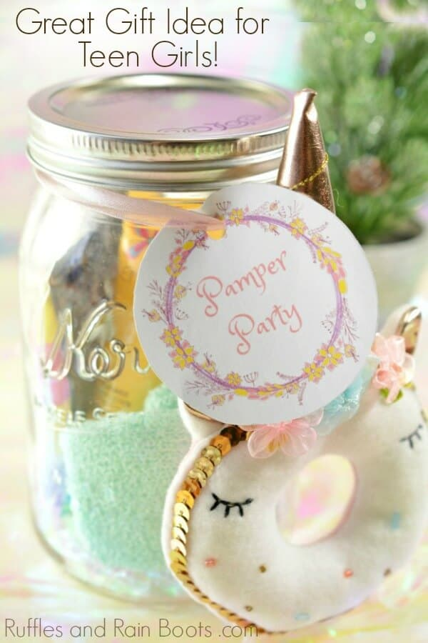 spa mason jar gift idea for teens on colorful background with text which reads great gift & Spa Mason Jar Gift Idea for Teens - Ruffles and Rain Boots