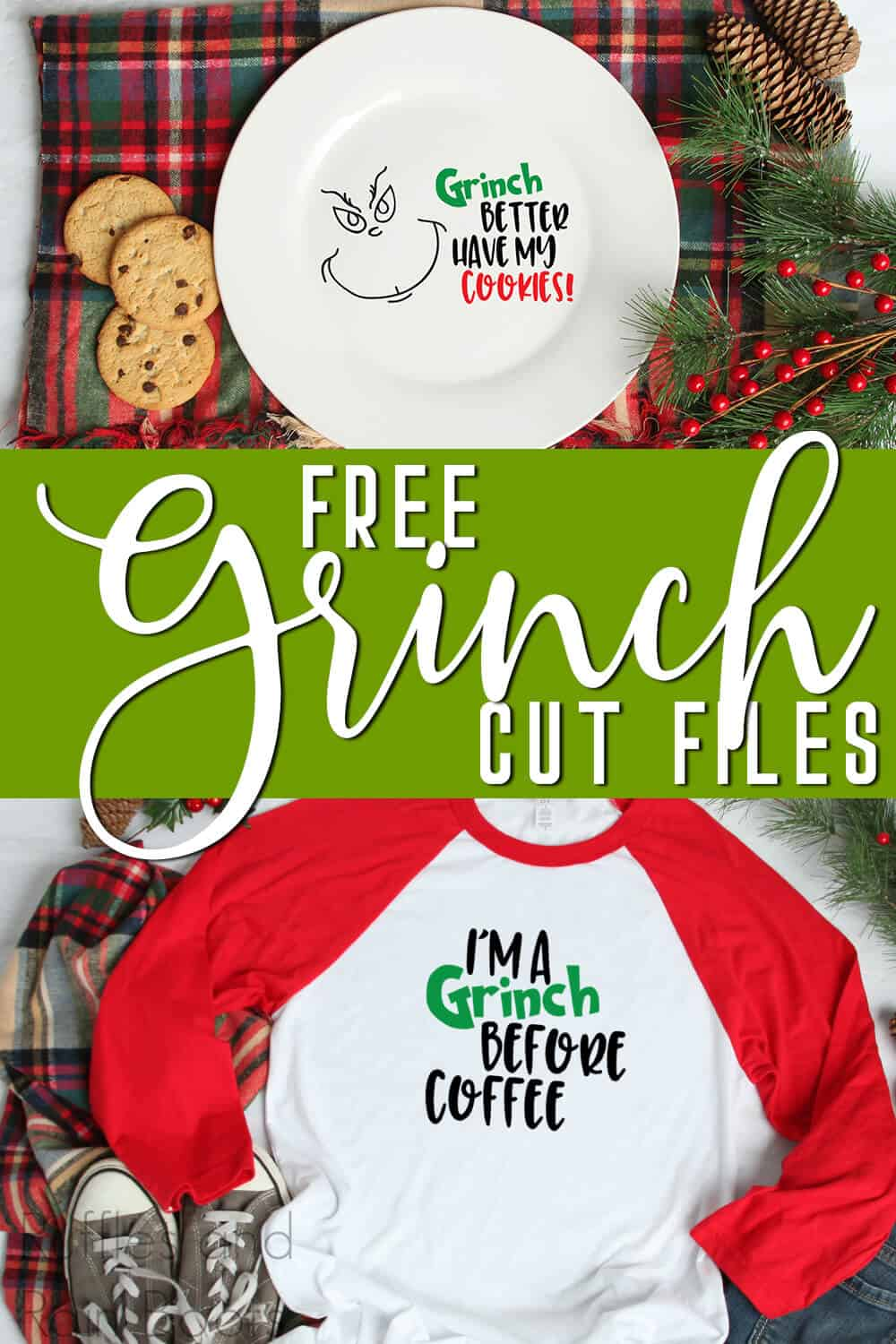 photo collage of grinch free svgs on a plate and shirt with text which reads free grinch cut files