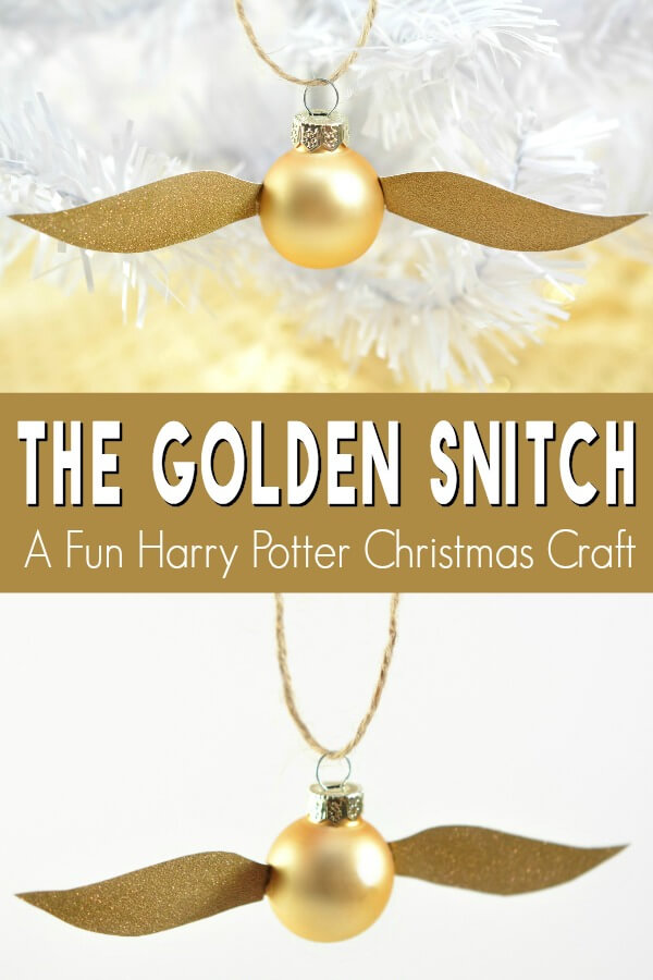 golden snitch on two backgrounds with text which reads the Golden Snitch a fun Harry Potter Christmas Craft