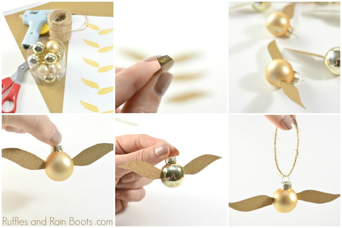 graphic regarding Golden Snitch Printable named Do-it-yourself Golden Snitch Ornament - A Harry Potter Xmas Craft