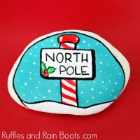 North Pole Christmas Painted Rock Idea