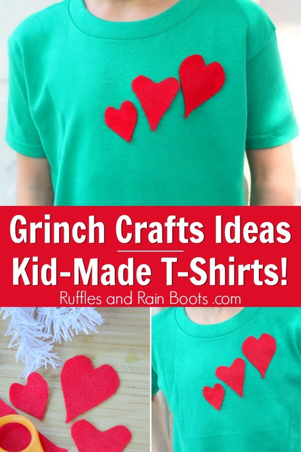 Heart t-shirt Grinch Craft for kids with text which reads Grinch Craft Ideas