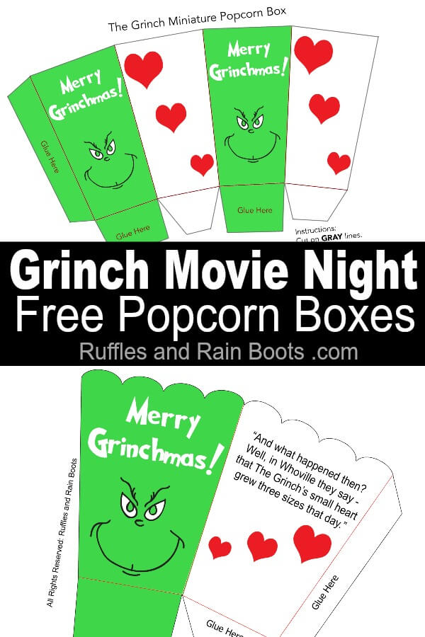 Free Grinch popcorn box printables with text which reads Grinch Movie Night free popcorn boxes