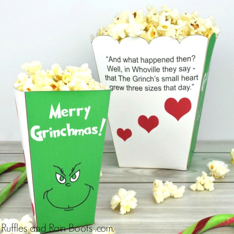 photograph regarding Printable Popcorn Boxes titled The Grinch Popcorn Box Printables for Family members Video Evening